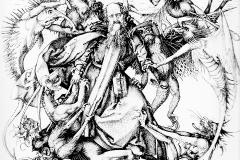 La tentation de St Antoine, Martin Schongauer, 1470-75 - wikimedia commons,domaine public