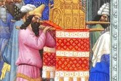 L'Arche d'Alliance portée dans le temple, Très Riches Heures du Duc de Berry, Frères de Limburg, 15ème - wikimedia commons, domaine public, R.M.N. / R.-G. OjŽda
