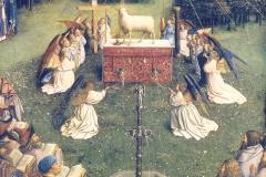 L'adoration de l'Agneau Mystique (détail), Van Eyck, 15ème siècle - wikimedia commons, domaine public