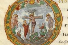 Christ en croix, Sacramentaire de Drogon, 9ème siècle, BNF - wikimedia commons, domaine public