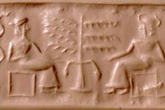 Sceau cylindre sumérien, British Museum,  2500 av. J.-C. - SL2019