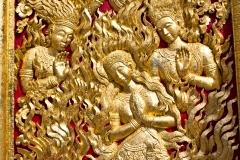 Vat Xieng Mene, portail du temple, Luang Prabang, Laos : renaissance par le feu.