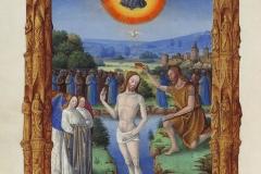 Le baptême du Christ, les très riches heures du duc de Berry, 15ème siècle - wikimedia commons ©Photo. R.M.N. / R.-G. OjŽda