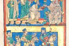 L'adoration des Mages, vers 1220, Codex Bruchsal 1, Bl. 11r - wikimedia commons, domaine public