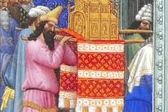 L'Arche d'Alliance amenée au Temple, les Très Riches Heures du duc de Berry - wikimedia commons,  R.M.N. / R.-G. OjŽda