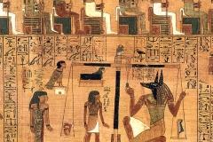La pesée du cœur par Anubis, Chap. 30B, Papyrus d'Ani, British Museum - wikimedia commons, domaine public