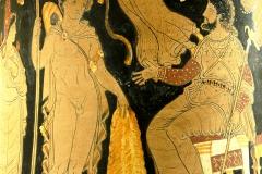 Jason rapportant la Toison d'or au roi Pélias, cratère à figures rouges d'Apulie, v. 340 av. J.-C., musée du Louvre - wikimédia commons, domaine public