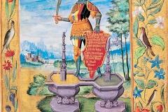 Le chevalier de l'Art Royal sur la double fontaine, Splendor Solis, 16ème siècle - domaine public