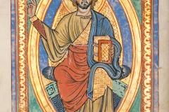 Christ, Codex Bruchsal 1, Bl. 1v, 13ème siècle - wikimédia commons, domaine public