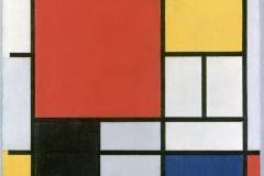 Composition en rouge, jaune, bleu et noir, Piet Mondrian, 1921 wikimedia commons, domaine public