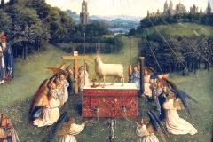 L'adoration de l'agneau, détail, Jan van Eyck, 1426-1432 - wikimedia commons, domaine public