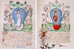 Rosa Alba et Rosa Rubea, Donum Dei, 15ème siècle - domaine public