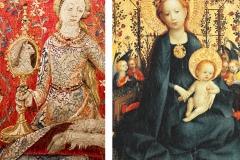 Détails Tenture de la Dame à la licorne-la-vue et Madone au buisson de roses, Lochner, 15ème-siècle - wikimedia commons, domaine public