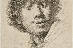 Autoportrait aux yeux hagards, Rembrandt, 1630 - wikimedia commons, domaine public