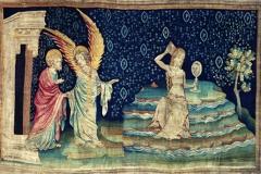 La grande prostituée, tapisserie de l'Apocalypse d'Angers, 14ème siècle - wikimedia commons, domaine public