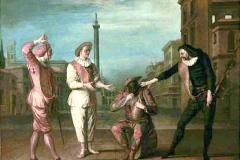 Masque de la duplicité, le tombeau de maitre André, Claude Gillot, 1716 - wikimedia commons, domaine public