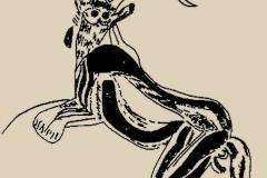 Danseur masqué de la grotte des Trois-Frères en Ariège, paléolithique, copie  - wikimedia commons, domaine public