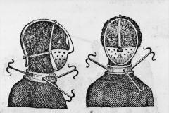 Masque d'esclave, détail, illustration le tyran pénitentiel, Thomas Branagan, 1810 - wikimedia commons, domaine public