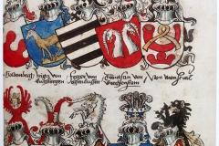 Cimiers Moyen Age, Armorial de Conrad Grünenberg, 1483 - Wikimedia commons, domaine public