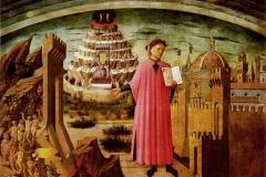 Domenico di Michelino, Dante et la divine comédie, cathédrale de Florence, 15ème siècle - wikimedia commons, domaine public