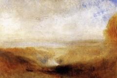 Joseph Mallord William Turner, paysage avec une rivière et une baie dans le lointain, 1840-1850 - wikimedia commons, domaine public