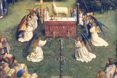 Van Eyck, retable de l'agneau mystique (détail), 1432 - wikimedia commons, domaine public