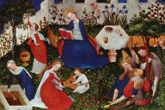 Maître anonyme du Haut Rhin, La Vierge au Paradis avec les saints, vers 1410 - wikipedia commons, domaine public