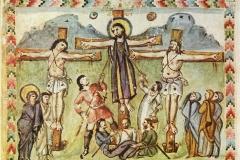 Crucifixion, évangéliaire de Rabula, 586 - wikimedia commons, domaine public
