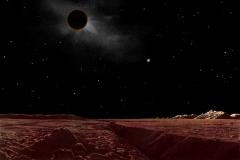 Lucien Rudaux ; éclipse lunaire, vue de la lune  - wikimedia commons, domaine public